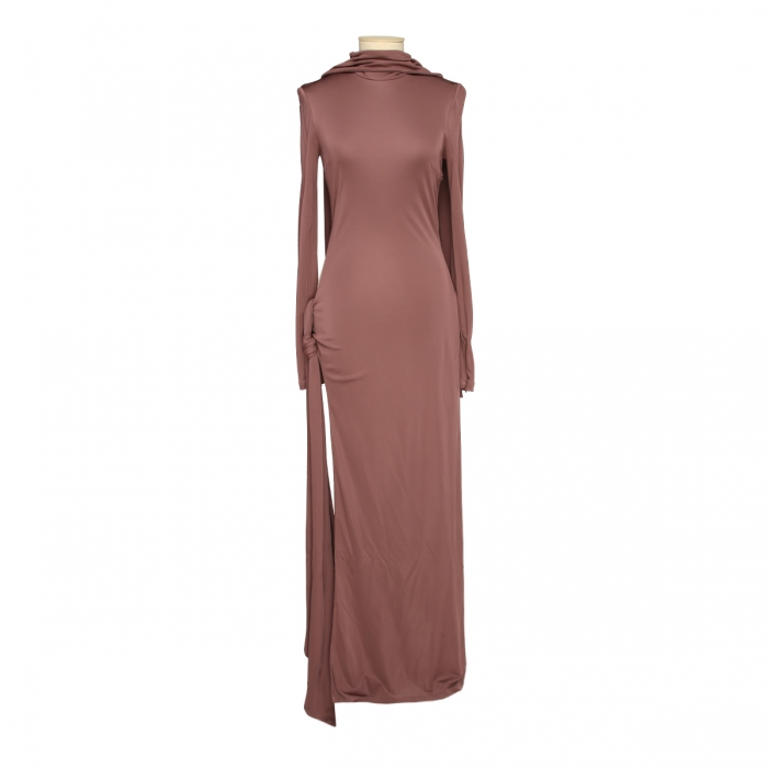 THE ATTICO Camille brown knotted dress 202WCA15 - J003 - 064 1