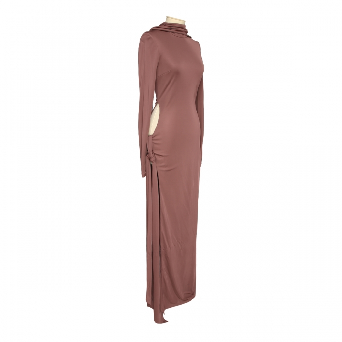 THE ATTICO Camille brown knotted dress 202WCA15 - J003 - 064 2