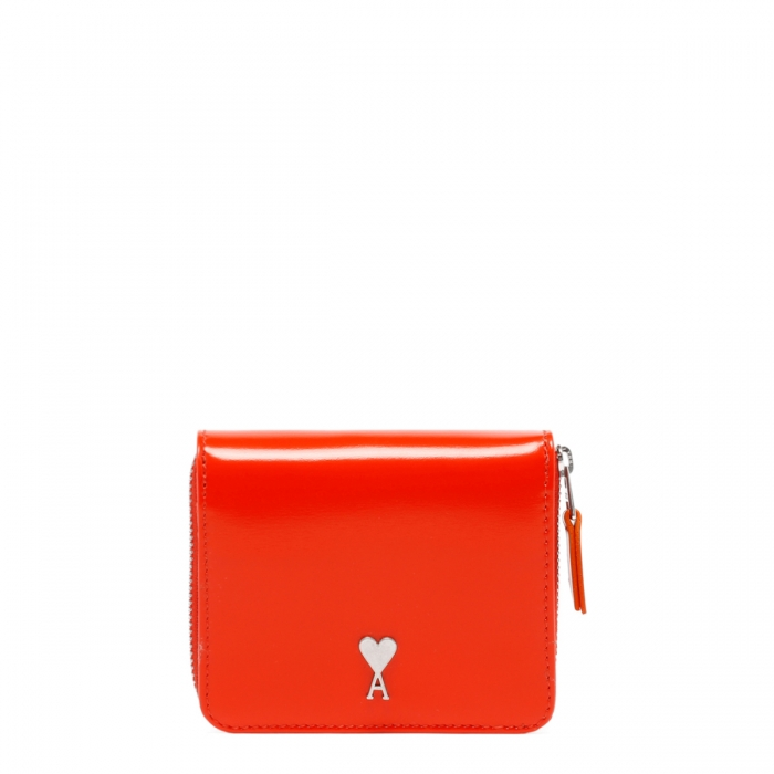 AMI PARIS Red Patent Leather Wallet A21A001.833 1