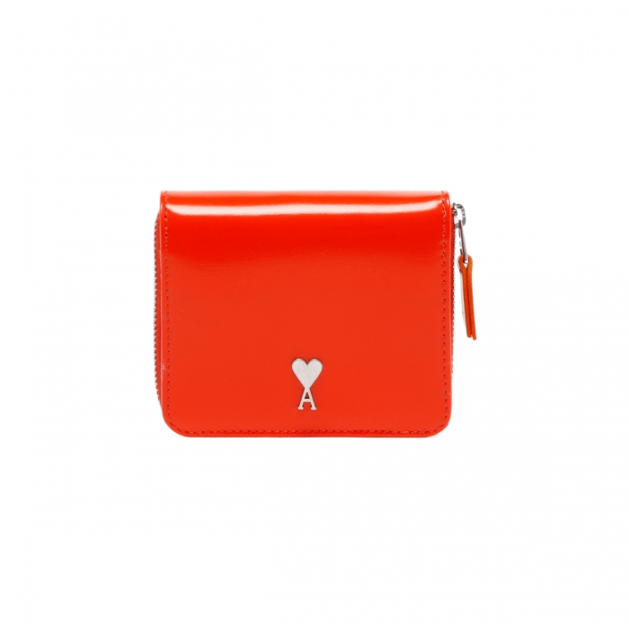 AMI PARIS Red Patent Leather Wallet A21A001.833 2