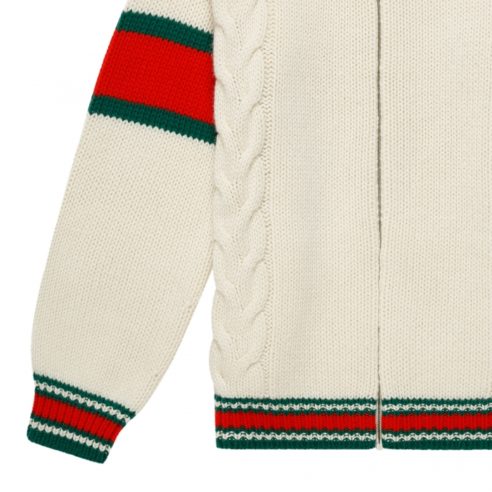 GUCCI Cable knit bomber jacket 599311 4