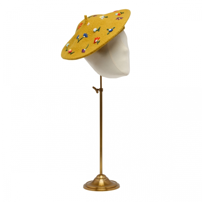 LAVI Yellow Embroidered Basque Hat BS2WDA002 3