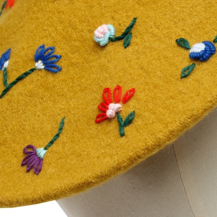 LAVI Yellow Embroidered Basque Hat BS2WDA002 4