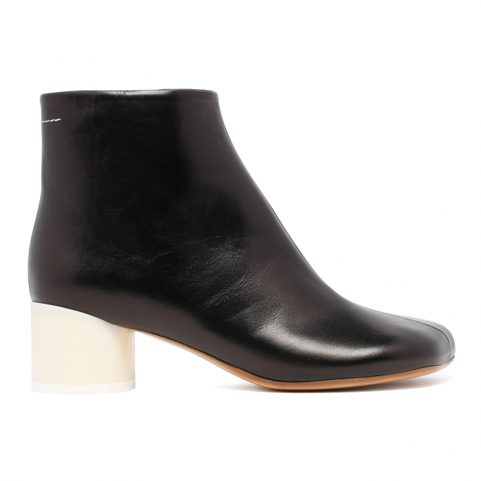 MM6 Black Leather Ankle Boots S59WU0173 2