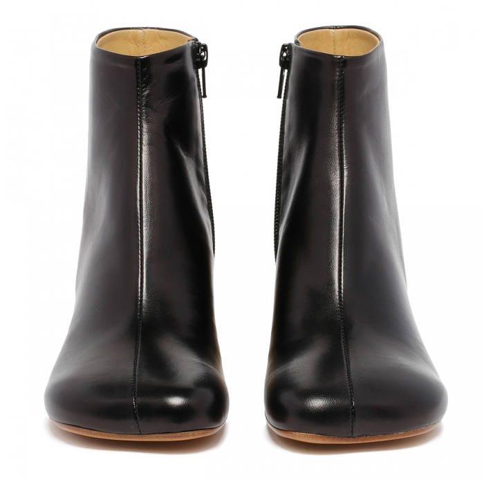 MM6 Black Leather Ankle Boots S59WU0173 3