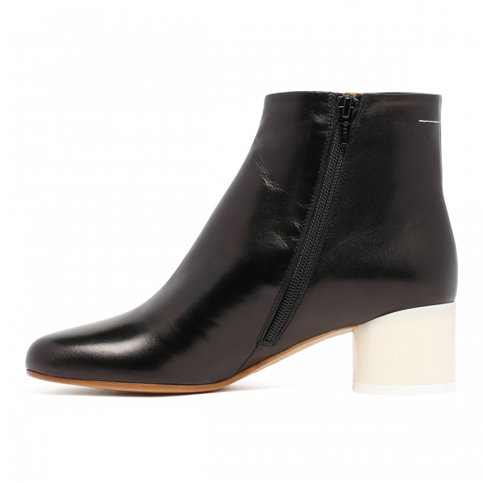 MM6 Black Leather Ankle Boots S59WU0173 4