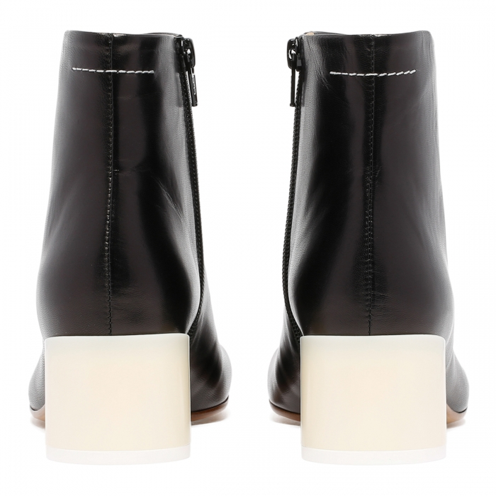 MM6 Black Leather Ankle Boots S59WU0173 5