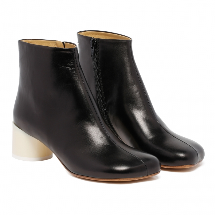 MM6 Black Leather Ankle Boots S59WU0173 6