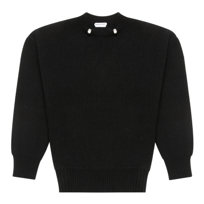 Black Wool Sweater With Rings