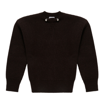Brown Wool Sweater With Rings