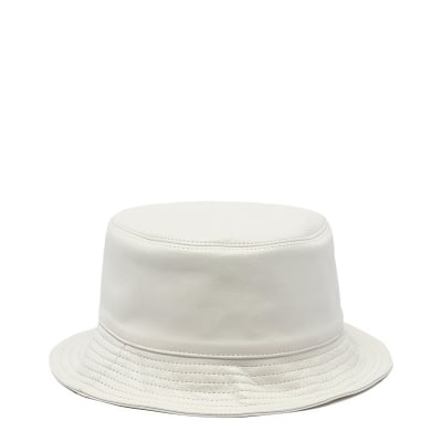 White Bucket Leather Hat