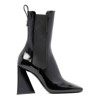 Black Polished Leather Boots