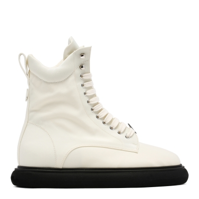 White Fabric Boots