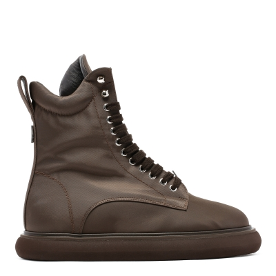 Brown Fabric Boots