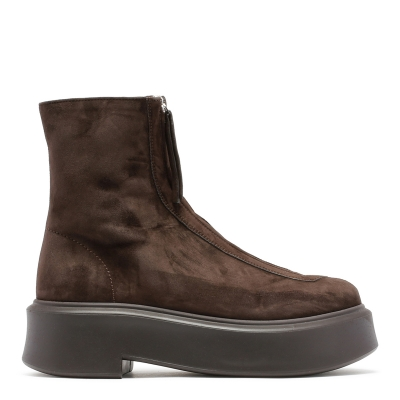 Dark Brown Suede Leather Zipped Boots