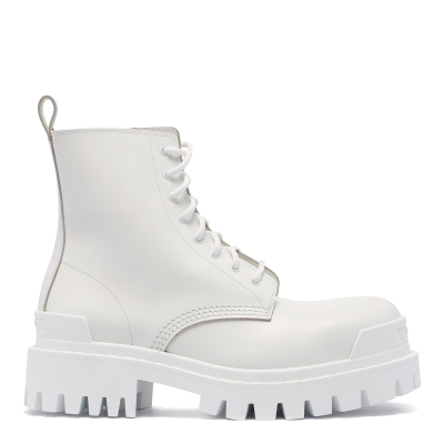 Strike Lace-up White Booties