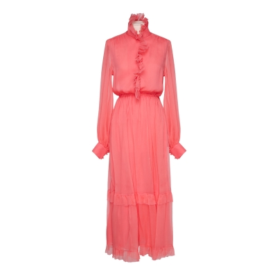 Pink silk dress with ruches