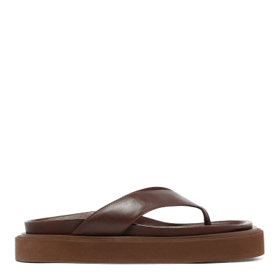 Brown  Leather Thong Sandals