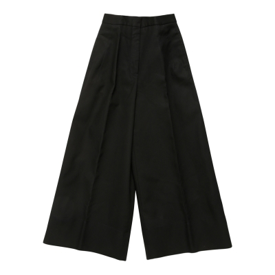 Black Wide Cropped Woven Pants
