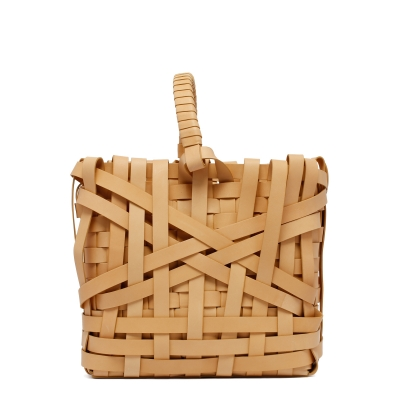 Beige Woven Leather Small Tote