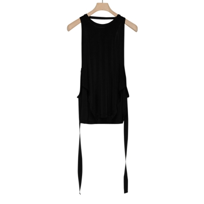 Black Ribbed Knit Jersey Top