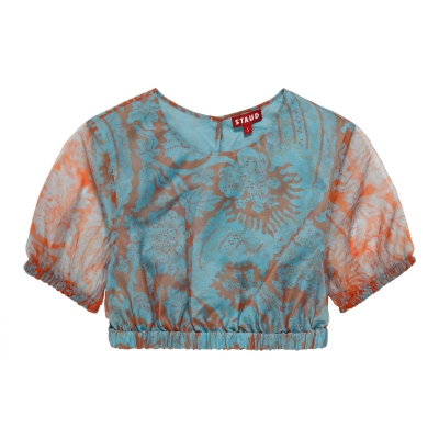 Frieze Floral Turquoise Top